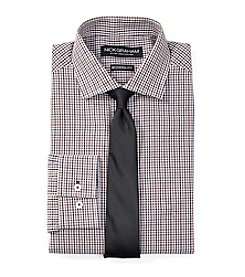 Nick Graham® Men's Mini Grid Regular Fit Dress Shirt With Tie Set