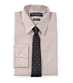 Nick Graham® Men's Checkered Regular Fit Dress Shirt with Tie Set