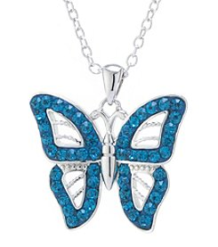 Athra Silver Plated Crystal Pave Butterfly Necklace 18