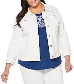 Rafaella® Plus Size Lace Back Denim Jacket