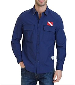 Nautica® Classic Fit Heritage Ripstop Nylon Long Sleeve Shirt