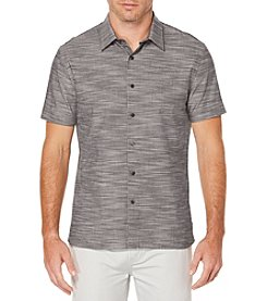 Perry Ellis® Short Sleeve Solid Slub Button Down