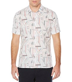 Perry Ellis® Short Sleeve Linear Button Down Shirt