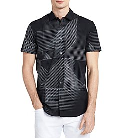 Calvin Klein Men's Short Sleeve 3D Linear Print Button Down
