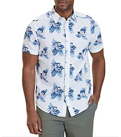 Nautica® Men's Classic Fit Floral Print Linen-Blend Short Sleeve Shirt