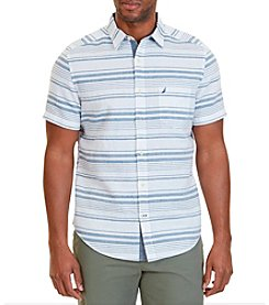Nautica® Men's Classic Fit Horizontal Stripe Linen-Blend Short Sleeve Shirt