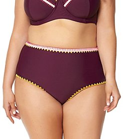 Jessica Simpson Plus Size Whipstich High Waist Swim Bottoms