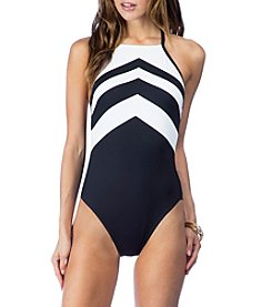 Lauren Ralph Lauren® Chevron High Neck One-Piece