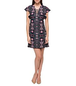 Jessica Simpson Floral Ruffle Sleeve Dress