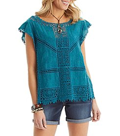 Democracy Crochet Flutter Sleeve Top
