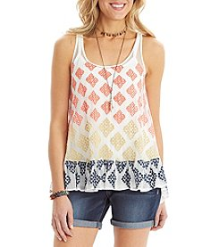 Democracy Embroidered Peplum Tank