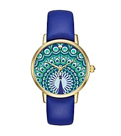 kate spade new york® Peacock Leather Metro Watch