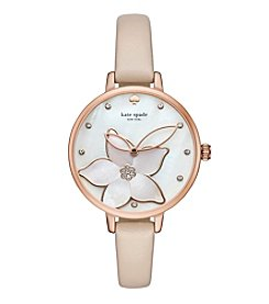 kate spade new york® Vachetta Leather Metro Watch