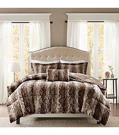 Madison Park Zuri Striped Faux Fur 4-pc. Comforter Set