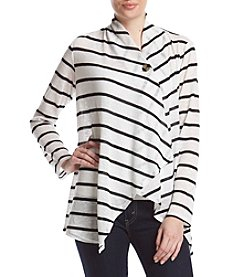 AGB® Striped Single Button Cardigan
