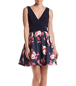 Xscape Printed Skirt Party Dress