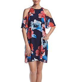 Vince Camuto® Floral Printed Cold Shoulder Dress