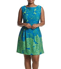 Taylor Dresses Plus Size Printed Scuba Knit Dress
