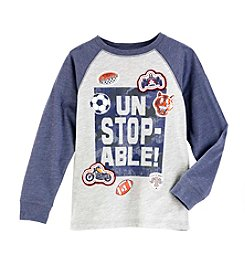 Mix & Match Boys' 4-8 Graphic Raglan Long Sleeve Tee