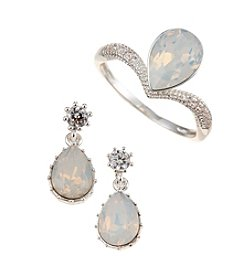 City x City Silvertone Duo Teardrop Crystal Ring and Earrings Set