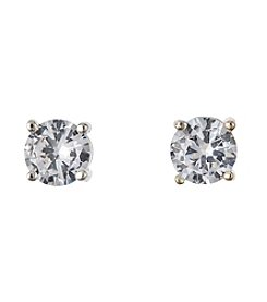 BT-Jeweled 6mm Clear Cubic Zirconia Earrings