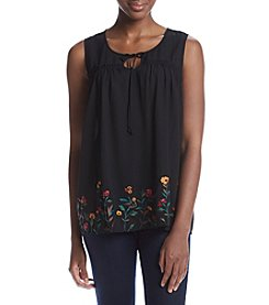 Studio Works® Embroidered Tie Neck Top