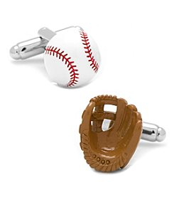 Cufflinks Inc. 3D Baseball and Glove Cufflinks