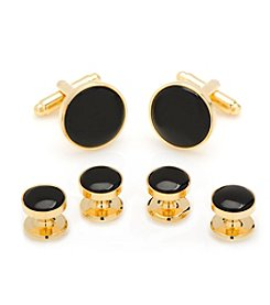 Cufflinks Inc. Gold and Black Onyx Cufflinks and Stud Set