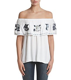 Hippie Laundry Embroidered Off-Shoulder Top