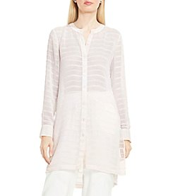 Vince Camuto® Button Down Sheer Embroidered Stripe Tunic