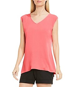 Vince Camuto® V-Neck Mix Media Textured Top