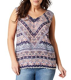 Vintage America Blues™ Plus Size Print Sleeveless Swing Top