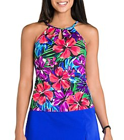Caribbean Joe® Tropical Punch High Neck Cutout Tankini Top
