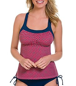 Caribbean Joe® Diamond Dot Tie Back Tankini Top