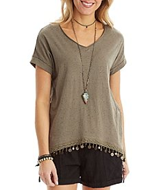 Democracy Raw Edge V-Neck Top
