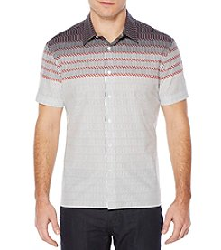 Perry Ellis® Short Sleeve Horizontal Zig Zag Button Down