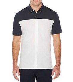 Perry Ellis® Short Sleeve Mixed Media Shirt