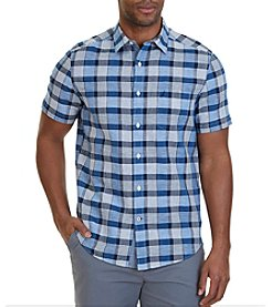Nautica® Classic Fit Federal Plaid Linen-Blend Short Sleeve Button Down