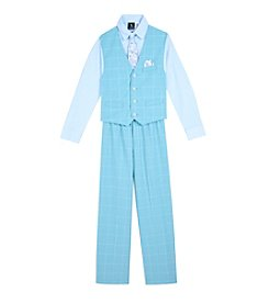 Steve Harvey Boys' 4-7 4-Piece Windowpane Vest Set