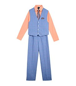 Steve Harvey Boys' 4-7 4 Piece Windowpane Vest Set