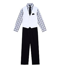 Steve Harvey Boys' 4-7 4 Piece Plaid Vest Set