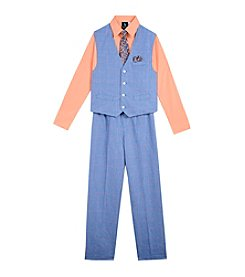 Steve Harvey Boys' 8-18 4 Piece Windowpane Vest Set