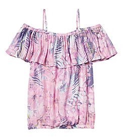 Jessica Simpson Girls' 7-16 Kit Floral Print Off-The-Shoulder Top