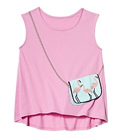 Jessica Simpson Girls' 7-16 Flamingo Purse Tank