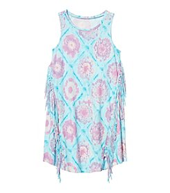 Jessica Simpson Girls' 7-16 Tie Dye Fringe Tank Top