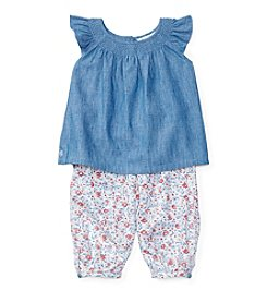 Ralph Lauren® Baby Girls' Chambray Smocked Pantset