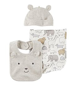 Carter's Baby 3 Piece Hat And Bib Set