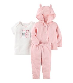 Carter's® Baby Girls' 3-Piece Bear Hoodie Set