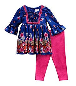 Sweet Heart Rose® Baby Girls' Smocked Floral Top And Legging Set