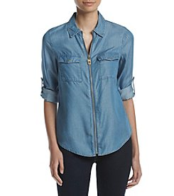 MICHAEL Michael Kors® Zip Front Dog Tag Blouse